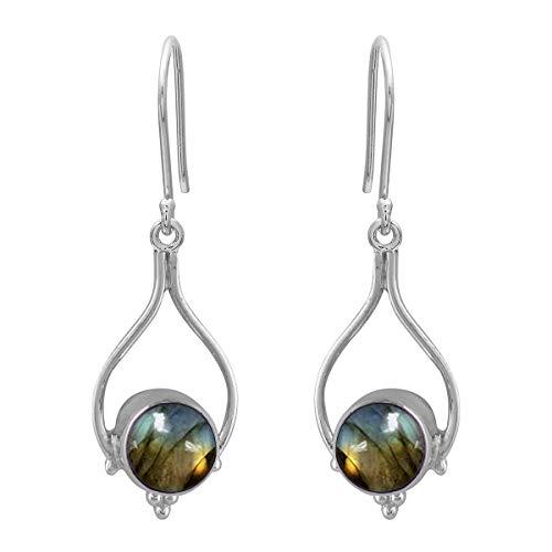 Ronda de opción múltiple Forma de piedras preciosas de plata de ley 925 Pendiente colgante largo plateado Para mujeres (Labradorita)