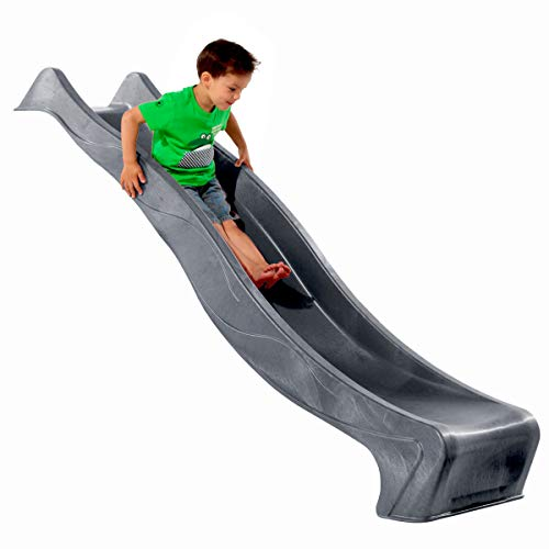 Demmelhuber Rutsche WATERSLIDE 2,30 m mit Wasseranschluss für Spielturm Wellenrutsche Gartenrutsche Kinderrutsche Anbaurutsche Wasserrutsche (Anthrazit)