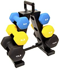 3 pairs of dumbbells in 5-pound, 8-pound, and 12-pound sizes. Ideal for resistance and other trainings The durable, neoprene material coated cast iron is great for indoor and outdoor workouts Neoprene coating on weights allow for a secure grip. The H...