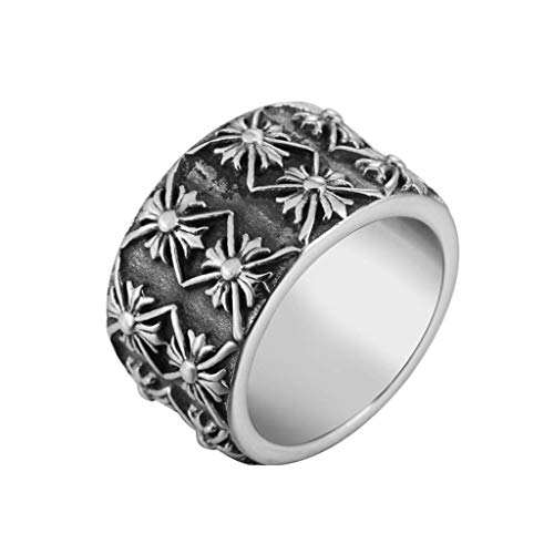 NA Gothic Rock Extra Wide Titanium Steel Cast Men's Rings