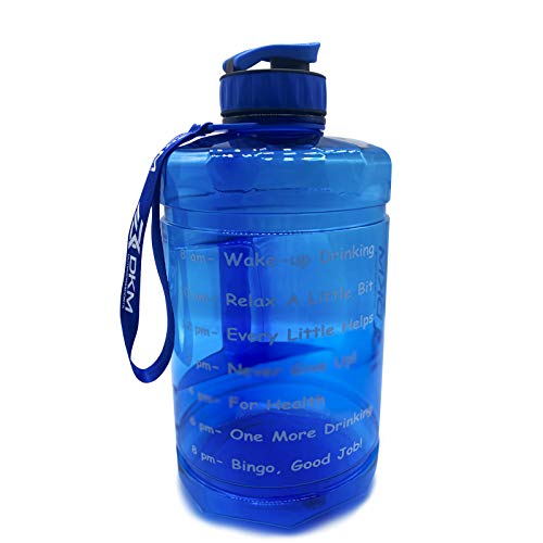 DKM 1 Gallon (128-OZ) Water Bottle Sports Water Bottle with Motivational Maker Reminder BPA Free and Leak Proof Sports Gallon Jug Water Bottle (Blue)
