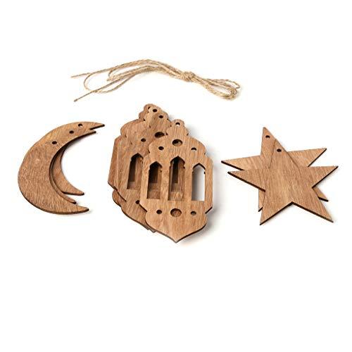 Viesky Islam Eid Ramadan Mubarak Dekorationen Holzlaterne Mond Stern Kugeln Heimdekoration Basteln