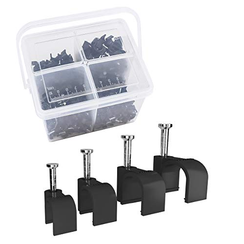 Top-spring 400 Stück runde Kabelschellen Sortiment 6mm 7mm 8mm 10mm Stahl Nagel Draht Schnalle mit Tragbarer PP-Box (schwarz)