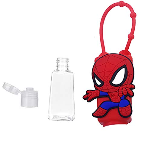 Cute Character Travel Hand Sanitizer Holder for Backpack, Travel Size Sanitizer Case, Kids Sanitizer Silicone Holder Leak Proof Refillable Travel Containers (1 piece)