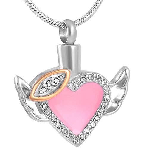 Cenizas Inoxidablecolgante De Acero Joyería de cremación de acero inoxidable para mascotas, medallón conmemorativo de cenizas humanas, collar de urna funeraria de corazón de ángel rosa