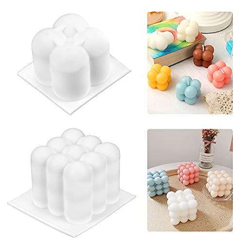 Moldes para Hacer Velas, 2PCS Velas moldea DIY 3D Cubo de Silicona Molde, para Artesanía Adornos Pastel, jabón, Velas, Chocolate Blanco Grande, Molde para Hornear, Velas Moldes,Molde de Vela Cubo