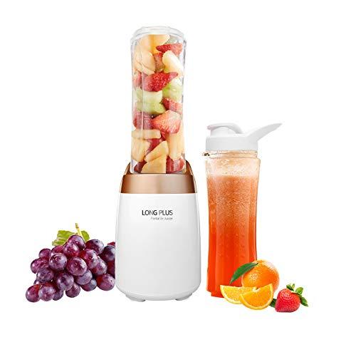 Mini Blender 300 W mit zwei BPA-freien tragbaren Flaschen, 500 ml, Smoothies Maker weiß/gold
