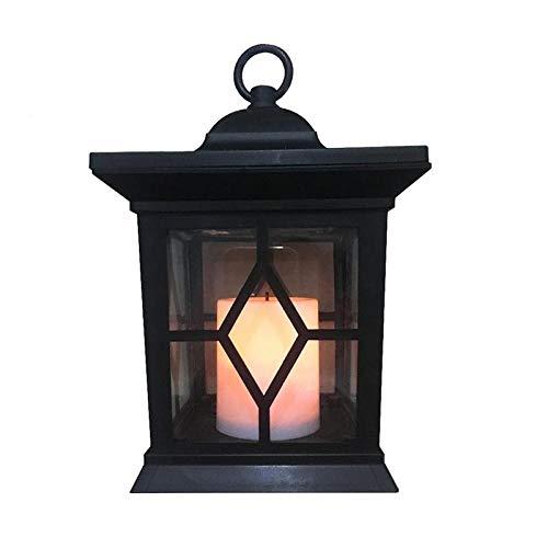 Wegverlichting, verlichting, buitenverlichting, decoratieve buitenverlichting, kaarslicht, LED met energie zonne-energie, tuinlamp, retro, hanglamp, waterdicht met clip (zwart + wit)