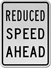 Supvivi Reduced Speed Ahead Sign, Metal Warning Signs Private Property,Danger Safety Sign Plaque,Gate Sign,8
