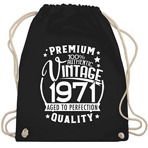 Shirtracer Geburtstagsgeschenk Geburtstag - Vintage 1971-50. Geburtstag - weiß - Unisize - Schwarz - Fun - WM110 - Turnbeutel und Stoffbeutel aus Baumwolle