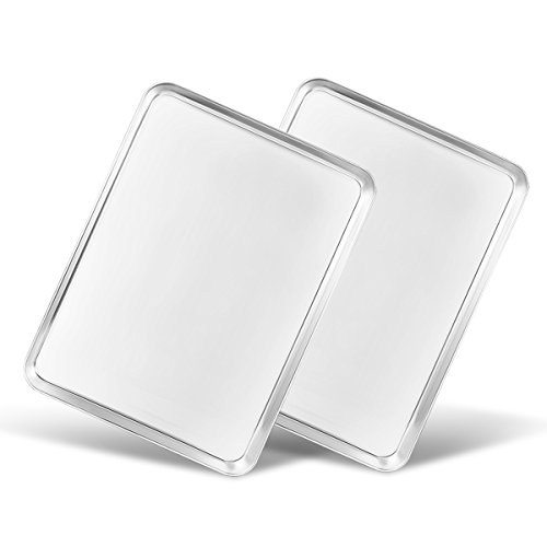 Baking Sheets Set of 2, Bastwe 16 inch Cookie Sheets 2 Pieces & Stainless Steel Baking Pans & Toaster Oven Tray Pans, Rectangle Size 16L x 12W x 1H inch & Non Toxic & Healthy & Easy Clean