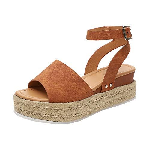 Sandalias Mujer con Sandalias Wedge Plateau con Correa en el Tobillo Sandalias Bajas de Verano Alpargatas de Punta Abierta Zapatos Elegantes para Mujer Cómodos (38 EU, Marrón)