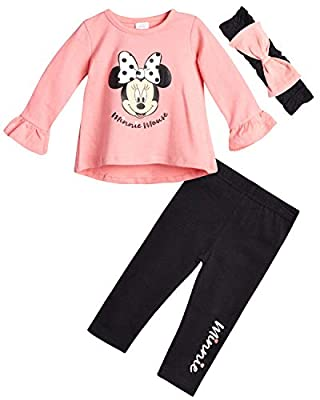 Disney Baby Girls' Minnie Mouse Pant Set - 2 Piece Long Sleeve T-Shirt and Leggings Set, Minnie Mouse Coral, Size 0-3 Months'