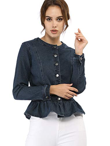 Allegra K Women's Peplum Button Down Cropped Ruffle Hem Denim Jackets Blue M (US 10)