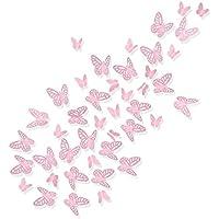 Luxbon 100pcs 3D Decorativas Pegatinas de Pared de la Mariposa 2 Tamaños DIY Mural Decalques Papel Arte Artesanía Inicio Decoración (Rosado)