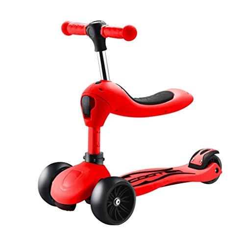 Skateboards Sitz faltbar 67cm Nutzfahrzeug Kindergebrauch DREI in einem 2-6 Jahre Alten Baby 3 Wheeler Red Scooter (Color : Red, Size : 67 * 25 * 40cm)