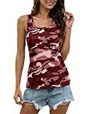 Aooword Women Summer T-Shirt Sleeveless Slim-Fit Casual Blouse Tops Wine Red 4XL