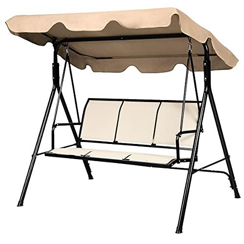 GIANTEX Dondolo da giardino a 3 posti, con tettuccio parasole e schienale, sedia a dondolo in metallo, da giardino, balcone, veranda (marrone)