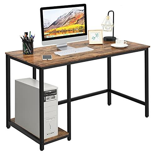 COSTWAY Mesa de Ordenador con Estantes Escritorio de Trabajo Mesa para Estudio de Diseño Industrial para Oficina Hogar 120x60x75 centímet