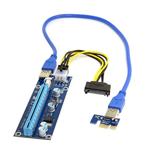 JSER PCI-E 1x a 16x adaptador elevador para máquina minera mejorado con USB 3.0 y cable de alimentación de 6 pines