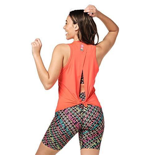 Zumba Activewear Backless Top Deportivo Dance Fitness Camisetas de Entrenamiento, Coral Hi, XS ⭐