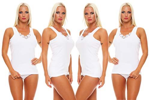 Good Deal Market Cocain 4 Damen Unterhemden Vollachsel mit Spitze Weiss 100% Baumwolle Gr. 52/54 unterhemden Damen weiß unterwäsche Damen