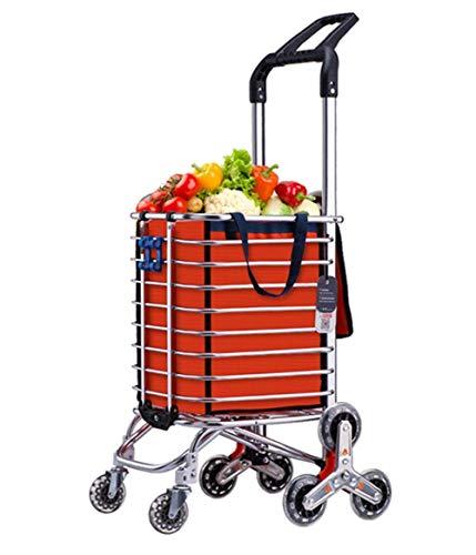 JALAL Gran Capacidad Escalera Escalada Carrito Compras Bolsa Ligero Equipaje Carro supermercado Plegable 8 Ruedas Multifuncional Utilitario Trolley, Naranja