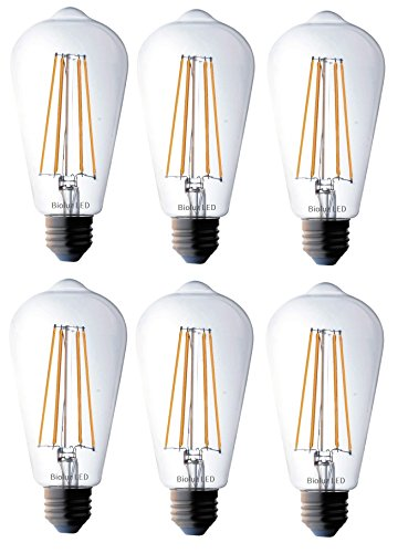 Bioluz ST64 Dimmable Edison LED Light Bulbs - 800 Lumen Soft White 3000K LED Edison Bulbs 60W LED Edison Bulb Dimmable Pack - 6-Pack 7W LED Edison Bulbs for Dimmable and Non-dimmable E26/27 Fixtures