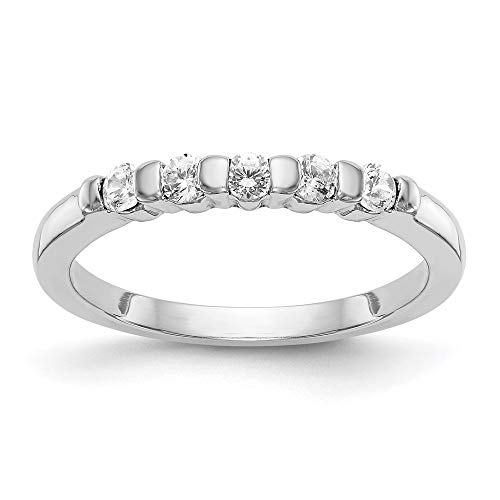 14k White Gold 5 Stone Diamond Wedding Ring Band Size 7.00 Channel Bridal Fine Jewellery For Women Mothers Day Gifts For Her