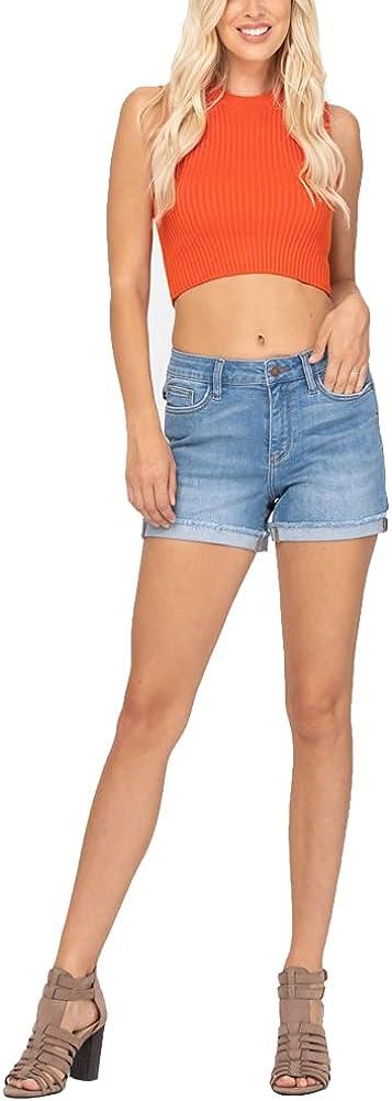 Judy Blue Mid Rise Light Wash Cuffed Hem Shorts (150037) Blue