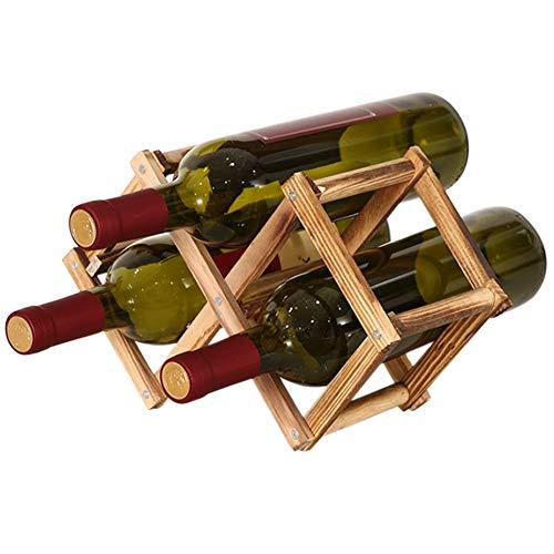 BE-STRONG Estantes De Madera para Almacenamiento De Vino, Encimera, Mesa Plegable, Soporte para Botella De Vino De Pie, Estante De Exhibición, para Cocina Casera Despensa Gabinete Bar,Latón,3 Bottles