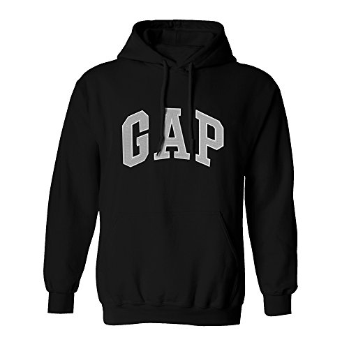 GAP Pullover Men's Fleece Hoodie Arch Logo Long Sleeve (Medium, Black)