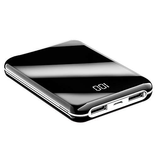 TreeLeaff Banco de energía 10000 mAh, mini cargador de superficie de espejo pantalla LED, 2 salidas USB y 1 entrada, cargador de batería externa ultra delgado compatible con iPhone Samsung Android