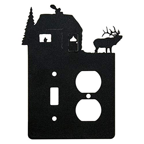 Elk & Cabin Toggle Light Switch & Single Duplex Wall Plate (Single Toggle with Power, Black)