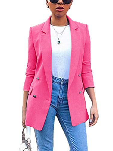 Minetom Donna Manica Lunga Colletto Cappotto Elegante Ufficio Business Blazer Top Gilet Corto OL Carriera Tailleur Giacca Rosa 38