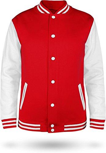 normani Kinder College Jacke für Jungen und Mädchen mit Ärmeln in Kontrastfarben Farbe Fire Red/White Größe 9-10 (140)