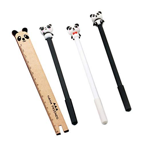 NUOBESTY Stift Lineal Set Panda Schreibwaren Schule Büro Basteln Schreiben Zeichnen Kinderparty Mitgebsel(Zufällige Farbe)