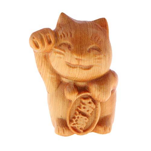 Homyl Handgeschnitzter Glücklicher Tiere Buddha Figur Skulptur Dekofigur Ornament - Glückskatze
