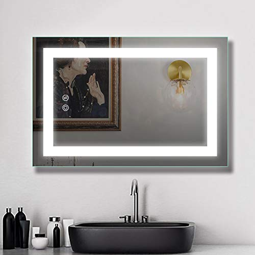 LED Bathroom Makeup Vanity Mirror with Lights-Wall Mounted Backlit Mirror, Vanity Lighted Mirror with ETL Listed for Whole Mirror, Design with Defogger and Touch dimming Switch, 24 x 36 Inch
