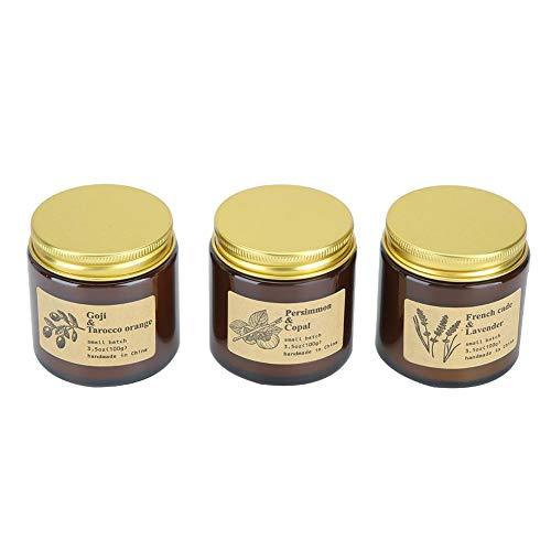 Geurkaarsen cadeauset, 3-delig Tawny glazen fles aromatherapie geurkaars Home Decoration Ornaments Gift
