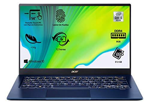 "Acer Swift 5 SF514-54T - Portátil táctil ultrafino 14"" FullHD (Intel Core i5-1035G1, 8GB RAM, 512GB SSD, Intel UHD Graphics, Windows 10 Home), Teclado QWERTY Español, Color Azul"