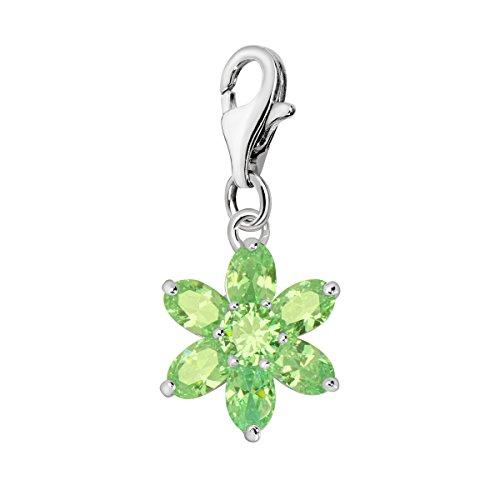 Quiges Charm Anhänger Kristall Grün Zirkonia Blume 925 Silber mit Karabinerverschluss für Bettelarmband