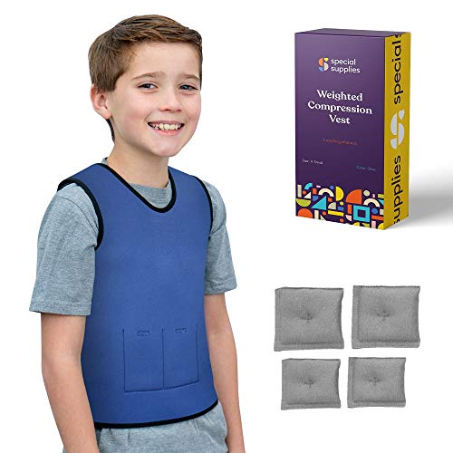 Special Supplies Weighted Sensory Compression Vest for Kids with Processing Disorders, ADHD, and Autism, Calming and Supportive with Adjustable Weight Fit (X-Small 14×24 inches)
