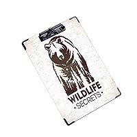 クリップボード 用箋挟 クロス貼 A4 短辺とじ アイデア多機能メニュー野生動物イラストを象徴するクマ (2パック)