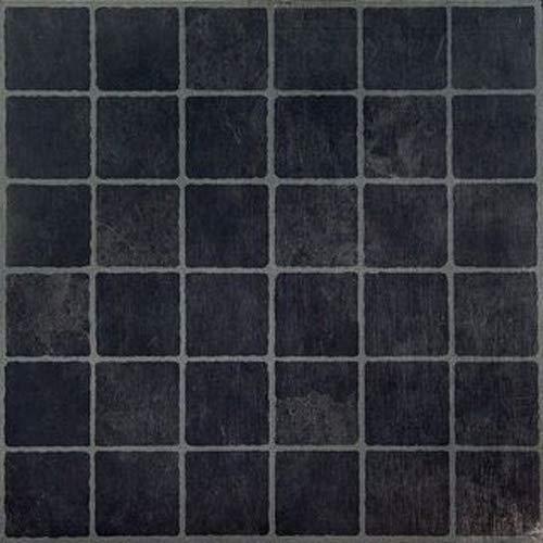 Vinyl-Bodenfliesen, selbstklebend, quadratisch, Schwarz, 20 Stück