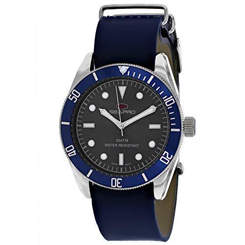 Seapro Reloj de pulsera para hombre, de acero inoxidable, cuarzo, correa de piel, color azul, 22 (modelo: SP0301)