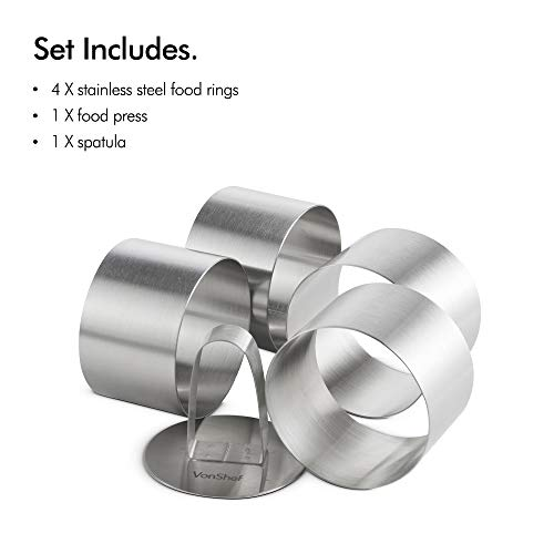 VonShef Professional Cooking Rings - Dessert/Food Presentation Rings - 6 Piece Set Includes 4 Stainless Steel Rings, Food Press, Spatula