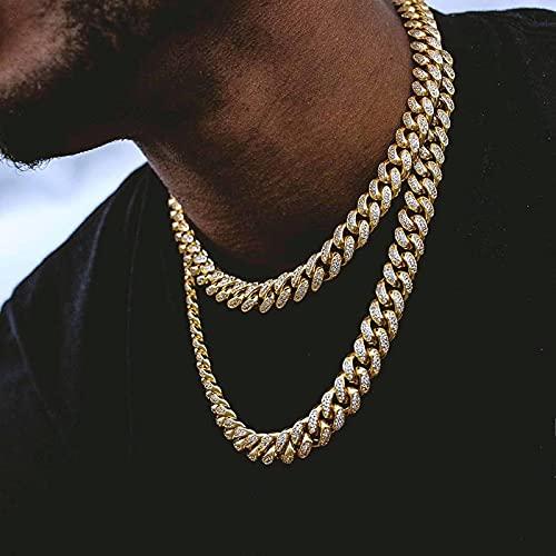 Collar Rapero Hip Hop 12Mm Miami Curb Collar De Cadena Cubana Oro Iced out Rhinestones Hombres Collares Joyería 20A-GD