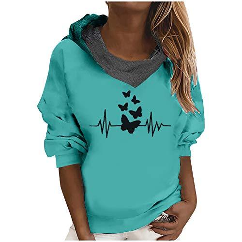 Moginp Rollkragenpullover für Damen mit Kapuze und übergroßer, lockerer, lässiger Sweatshirtjacke mit Kapuze(Grün,S)