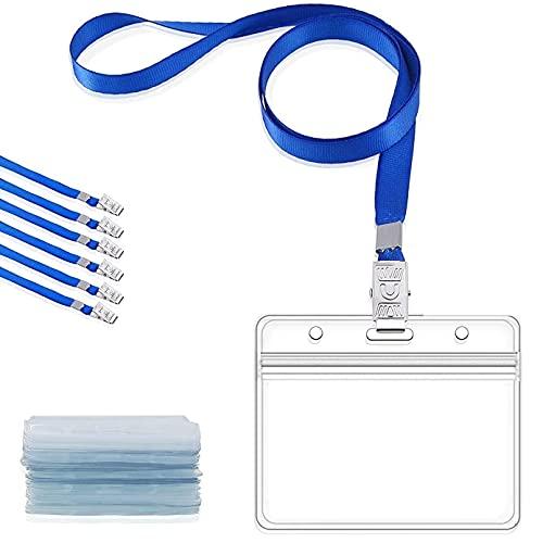 GIMARS 30 Set Namensschilder mit Band Kartenhülle Ausweishalter Lanyard für Business, Ausstellung, Büro, Schule und Kinder (Blau)